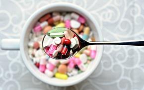 Картинка фон, ложка, лекарства