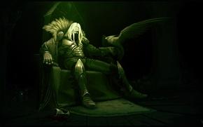 Картинка птица, кровь, бокал, воин, Арт, трон