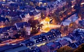Картинка дорога, город, здания, дома, вечер, выдержка, Германия, Germany, Deutschland, Baden-Württemberg, Фрайбург-в-Брайсгау, Freiburg