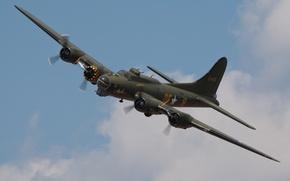 """Картинка небо, самолёт, американский, WW2, тяжёлый, цельнометаллический, """"Летающая крепость"""", четырёхмоторный бомбардировщик, Boeing B-17, Flyig Fortress"""