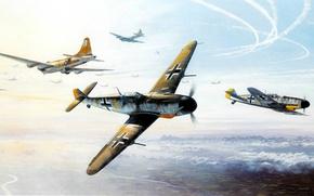 Картинка ART, painting, aviation, WW2, WAR, bf 190