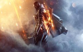 Обои Плащ, Frostbite, Огни, Небо, Военный, Солдат, DICE, Дирижабль, Экипировка, Граната, Дым, Огонь, Battlefield 1, Electronic ...