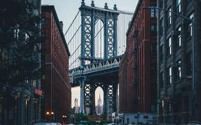 Картинка город, дома, США, Нью Йорк, бруклинский мост