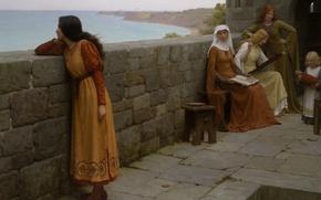 Картинка море, задумчивость, замок, стена, берег, картина, wall, крепость, sea, дева, muse, castle, размышления, Middle Ages, …