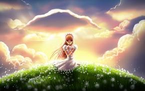 Картинка трава, облака, радость, цветы, холм, луг, арт, девочка, одуванчики