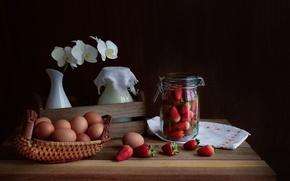 Картинка яйца, клубника, натюрморт, орхидея