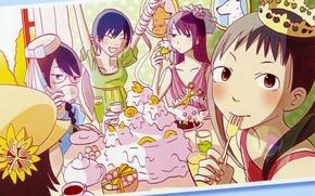 Картинка праздник, корона, сладости, торт, art, веселье, подруги, Bakemonogatari, Истории чудовищ, Hitagi Senjougahara, Nadeko Sengoku, Tsubasa …