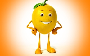 Картинка взгляд, улыбка, фон, лимон, lemon, eyes, smile, background