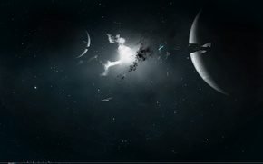Обои звезды, планеты, корабль
