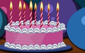 Обои розовый, день рождения, еда, свечи, торт, пирожное, десерт, сладкое
