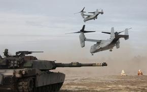 Картинка танк, взлет, боевой, Osprey, Абрамс, Bell V-22, M1 Abrams, конвертопланы