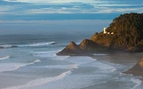Картинка прибой, деревья, море, скала, волны, маяк, небо, облака