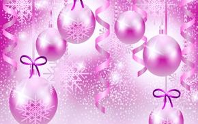 Картинка праздник, рождество, вектор, шарик, бант, серпантин, снежинка