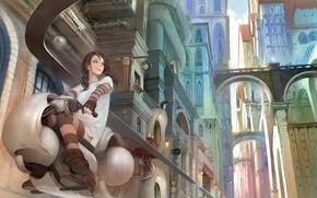 Картинка девушка, мост, город, транспорт, дома, арт, мотоцикл, арки, поездка, mlog, mujiha