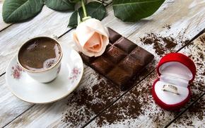 Обои натюрморт, кольцо, еда, чашка, шоколад, кофе, розы