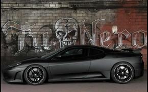 Картинка машина, серый, Граффити, TuNero, F430, Ferrari