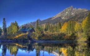 Картинка лес, вода, деревья, горы, озеро, парк, отражение, домик, США, Grand Teton