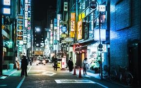 Обои shops, people, cityscape, neon, urban scene, everyday life, Japan, street, Tokyo
