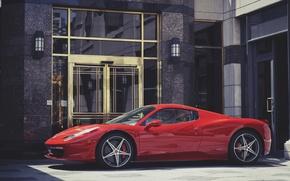 Обои ferrari, 458, italia, red, building, феррари, италия