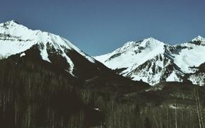 Картинка road, mountains, snow