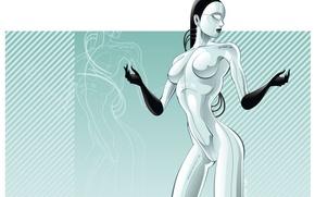 Обои девушка, вектор, Робот