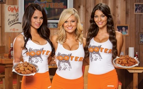 Обои Inc, Hooters of America, Advertising photo, Fried chicken wings, Traditional uniform, hooters