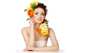 Картинка взгляд, цветы, стиль, модель