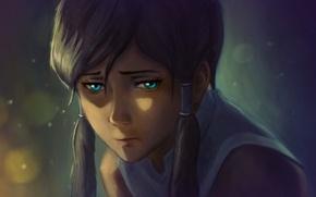 Картинка грусть, девушка, лицо, огонь, арт, отблеск, avatar, korra, the legend of korra, br0ny