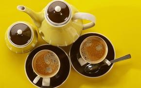 Обои посуда, чай, фон, кружки, чашки, желтый