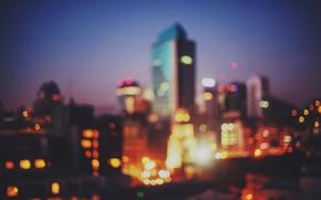 Картинка lights, twilight, dusk, bokeh, downtown, Santiago, Chile