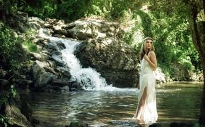 Картинка лето, девушка, река