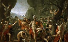 Картинка Париж, масло, картина, Лувр, холст, французский художник, Леонид в битве у Фермопил, Давид Жак Луи