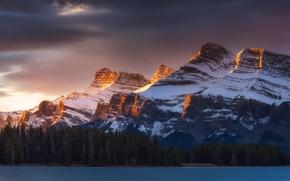 Картинка лес, снег, горы, природа, озеро