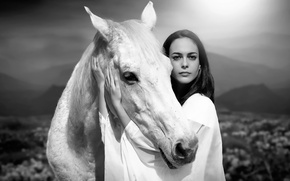 Обои портрет, дружба, horse, девушка