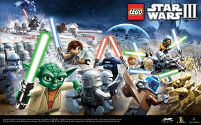 Картинка Star Wars, battle, yoda, lightsaber, artwork, figures, Obi-Wan Kenobi, LEGO Star Wars III, Anakin Skywalker, …