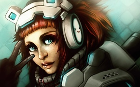 Картинка girl, red hair, headphones, art, Game, sanctum, Sweet Autumn