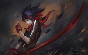Обои оружие, арт, kill la kill, matoi ryuuko, аниме, riyueseven, девушка, меч