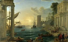 Картинка море, небо, пейзаж, город, люди, лодка, картина, The Embarkation of the Queen of Sheba, Claude …