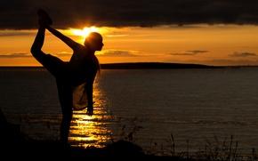 Картинка солнце, девушка, природа, закат