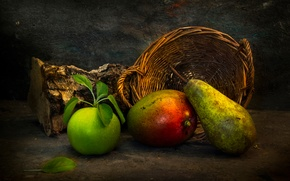 Картинка корзина, фрукты, полено, To everything there is a season