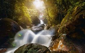 Картинка лес, камни, водопад, Бразилия, валуны, Brazil, Pernambuco, Пернамбуку, Бониту, водопад Брайдлвейл, Bonito, Bridal Veil Fall, …