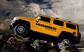 Обои облака, камни, Hummer