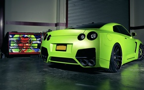 Картинка зеленый, тюнинг, гараж, матовый, Nissan, GT-R, салатовый, devil