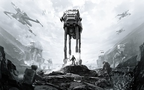 Картинка Stormtroopers, Sallast, AT-ST, игры, Electronic Arts, DICE, AT-AT, Rebels, star wars battlefront, Ultimate Edition, BLACK …