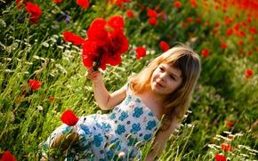 Картинка счастье, цветы, дети, детство, ребенок, flowers, green field, child, childhood, children, happiness, cute little girl, …