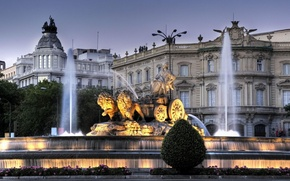 Картинка колесница, вечер, фонтан, сумерки, львы, Испания, дворец, богиня плодородия земли, Кибела, дворец Линарес, монумент, фонтан …