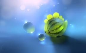 Картинка пузырьки, динозавр, арбуз, арт, apofiss, watermelon dino