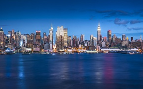 Обои United States, cityscape, skyscrapers, blue hour, New York, Manhattan