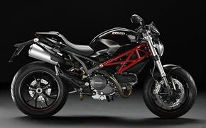Картинка мотоцикл, тёмный фон, ducati monster