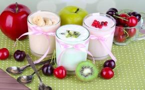 Картинка ягоды, яблоки, фрукты, черешня, йогурт